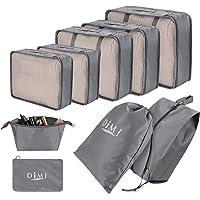 DIMJ Packing Cubes for Travel, 9 Pcs Travel Cubes Set Foldable Suitcase Organizer Lightweight Luggage Storage Bag…