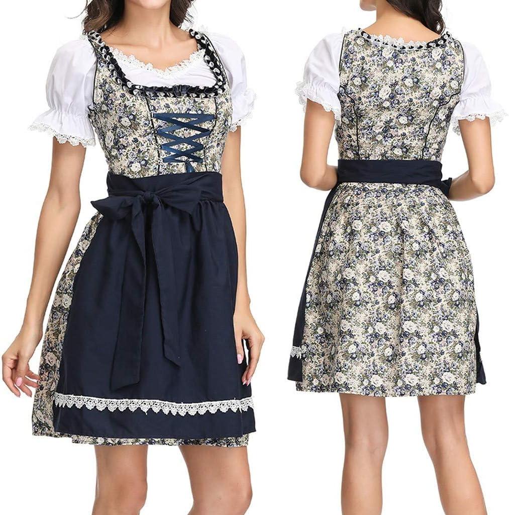 Fiaya Women Dress Halloween Carnival Oktoberfest Beer Festival Cosplay Bavarian Costume German Dirndl Tavern Maid Dress