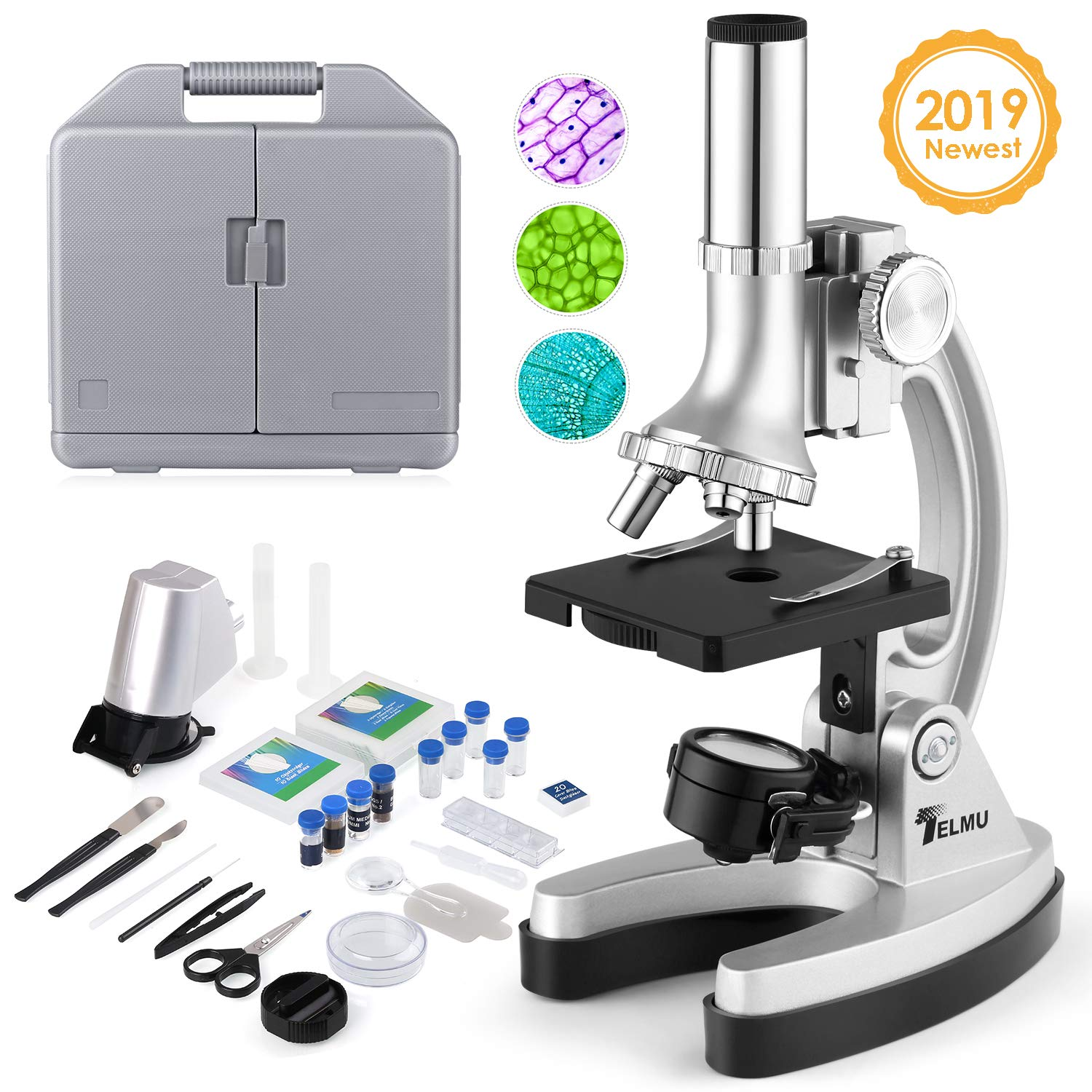 TELMU Microscope for Kids with 70pcs+ Accessory Set 300X-600X-1200X Beginner Microscope Kit with Metal Base by TELMU