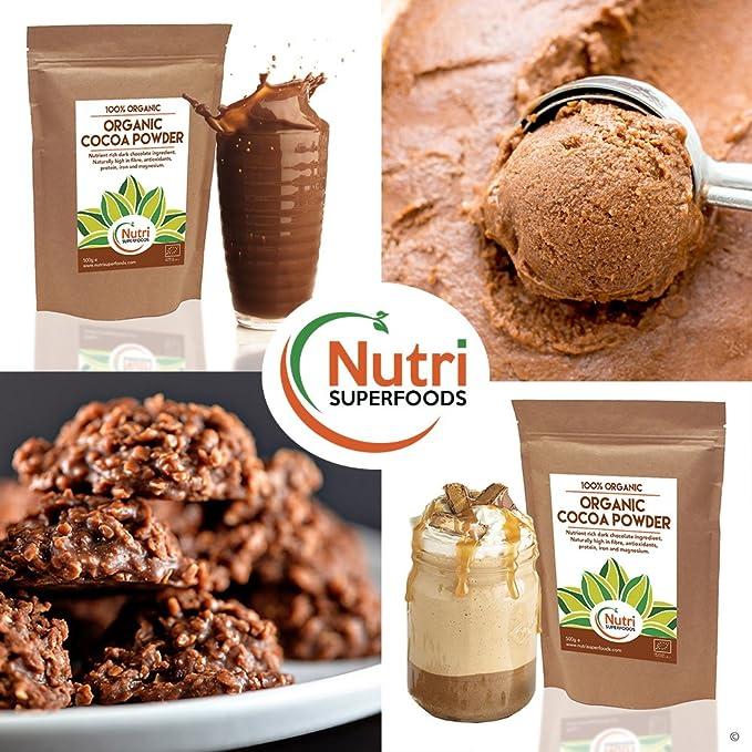 Polvo de Cacao Orgánico, chocolate negro vegano nutritivo, sin azúcar, ideal para preparar platos, batidos y barras energéticas (500g): Amazon.es: ...