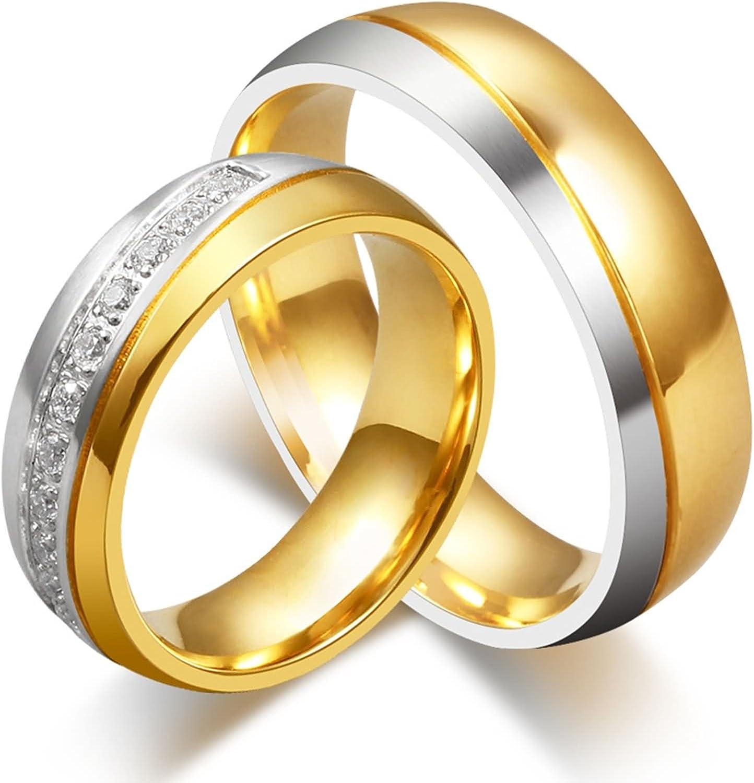 ROMQUEEN JOYERÍA 2 Piezas Anillo de 6MM Alianza de Plata con Circonitas Alianza de Compromiso Oro Blanco Anillo Mujer/Hombre de Oro Y Plata(la Talla 9,5-30)
