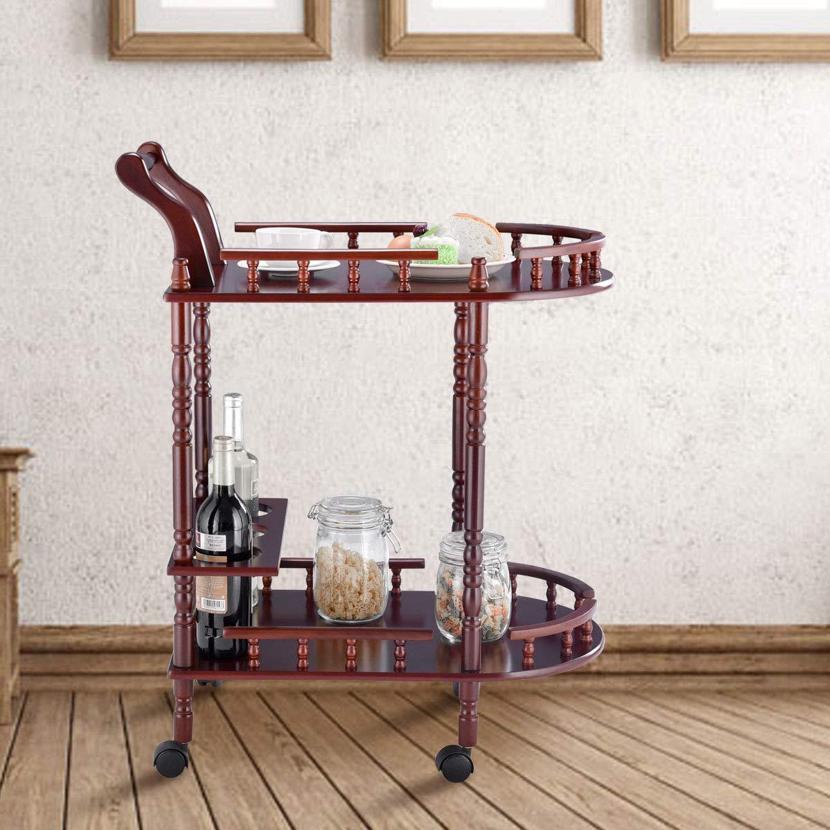 Eosphor US Rolling Serving Trolley Cart Bar Cart Trolley Two-Tier Rack Rolling Wine Rack Hotel Cherry Wood by Eosphor US (Image #6)