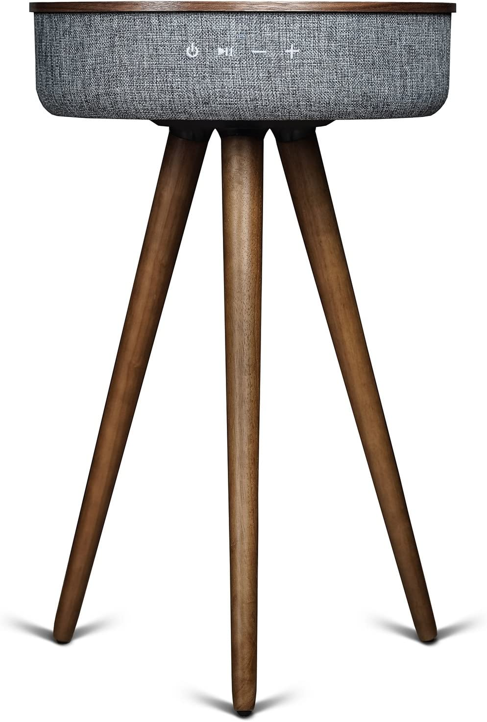 Sierra Modern Home Studio Smart Table with Built in 360° Bluetooth Speaker and Wireless Qi Charger, Dark Oak Wood