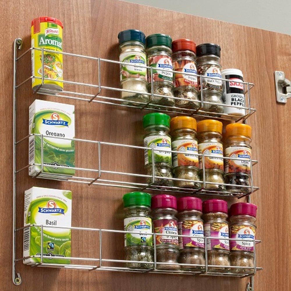 3 tier kitchen spice rack to suit 300 500mm wide door to suit 300mm door amazon co uk kitchen home
