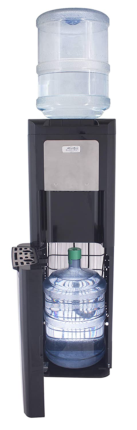 Glacial Spare Bottle Hider Water Cooler, with Ice Chilled Water, Black and Stainless, Commercial Grade