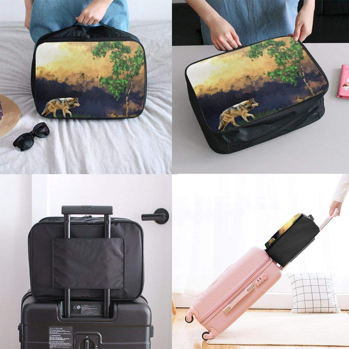 Abstract Art Painting Wolf Animal Travel Lightweight Waterproof Foldable Storage Carry Luggage Large Capacity Portable Luggage Bag Duffel Bag