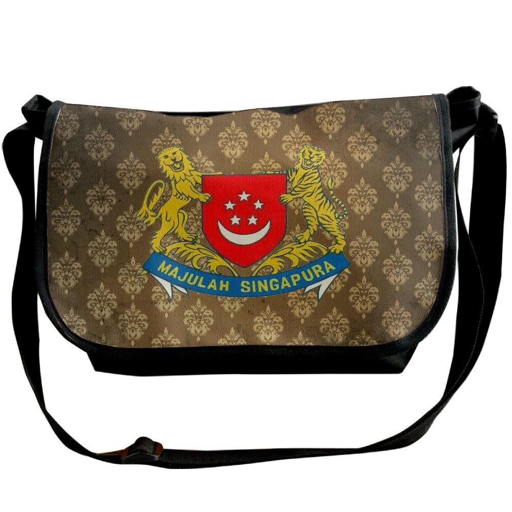 Lov6eoorheeb Unisex Coat Of Arms Of Singapore Wide Diagonal Shoulder Bag Adjustable Shoulder Tote Bag Single Shoulder Backpack For Work,School,Daily