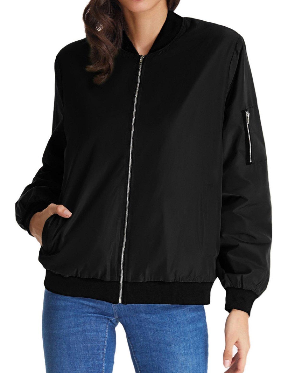 Women's Padded Solid Baseball Pilot Bomber Coat Top Outerwear(XL Black)