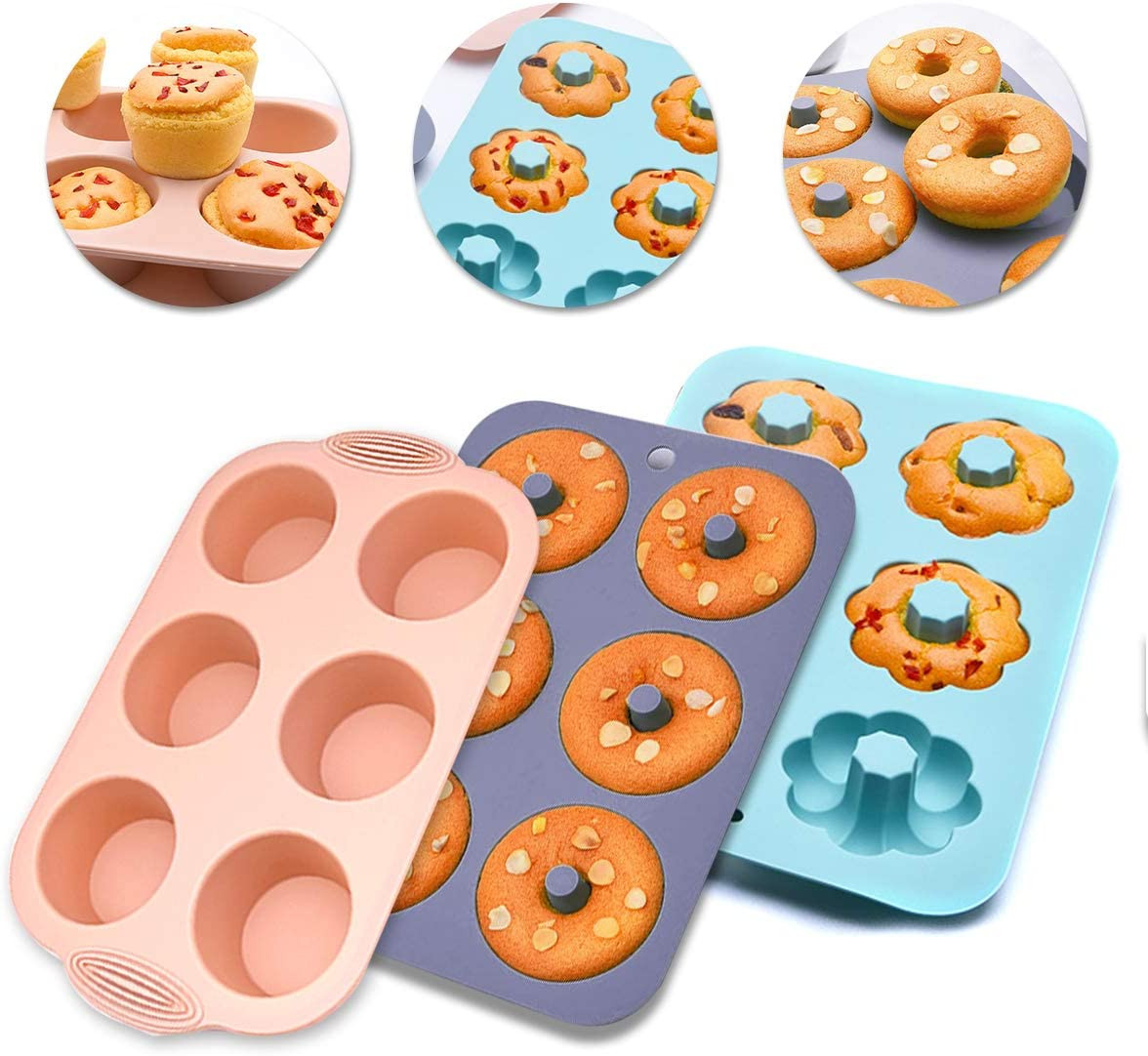 Stampi Silicone Dolci Elinala Stampo Silicone Ciambella 3PCS Silicone Antiaderente Cupcake Muffin Cioccolato Ciambella Stampo da Forno Teglia da Forno con 6 cavit/à
