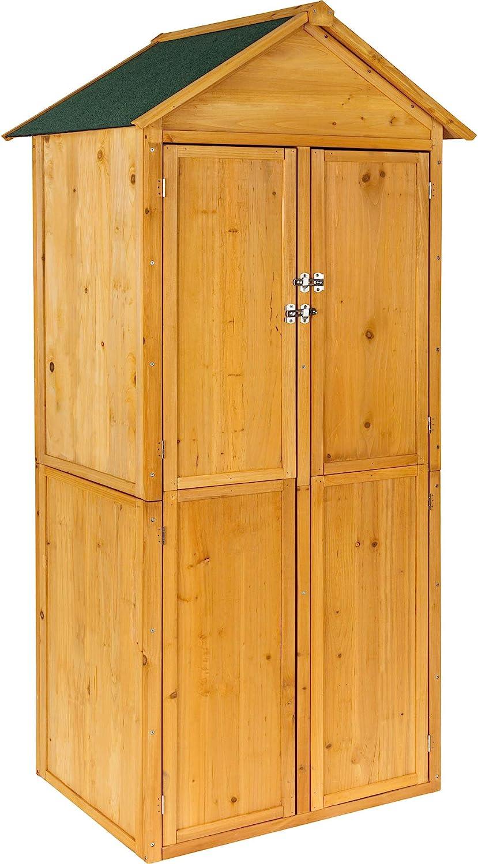 TecTake Caseta de Exterior Armario de Madera de jardín para Herramientas cobertizo con tejado en Punta   Aprox. 80,5 x 60 x 213,5 cm