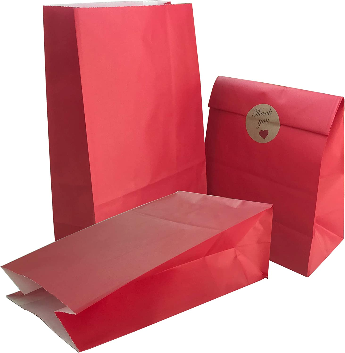 Party Bag 50 pcs Food Safe Kraft Paper and Ink, Natural (Biodegradable), Vivid Colored Candy Cookie Buffet Bags, Bottom Square Bag.Red.with 48 pcs Thank You Stickers 1.5 inch.