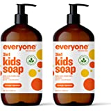 Everyone 3-in-1 Kids Soap, Body Wash, Bubble Bath, Shampoo, 32 Ounce (Pack of 2), Orange Squeeze, Coconut Cleanser with Organ