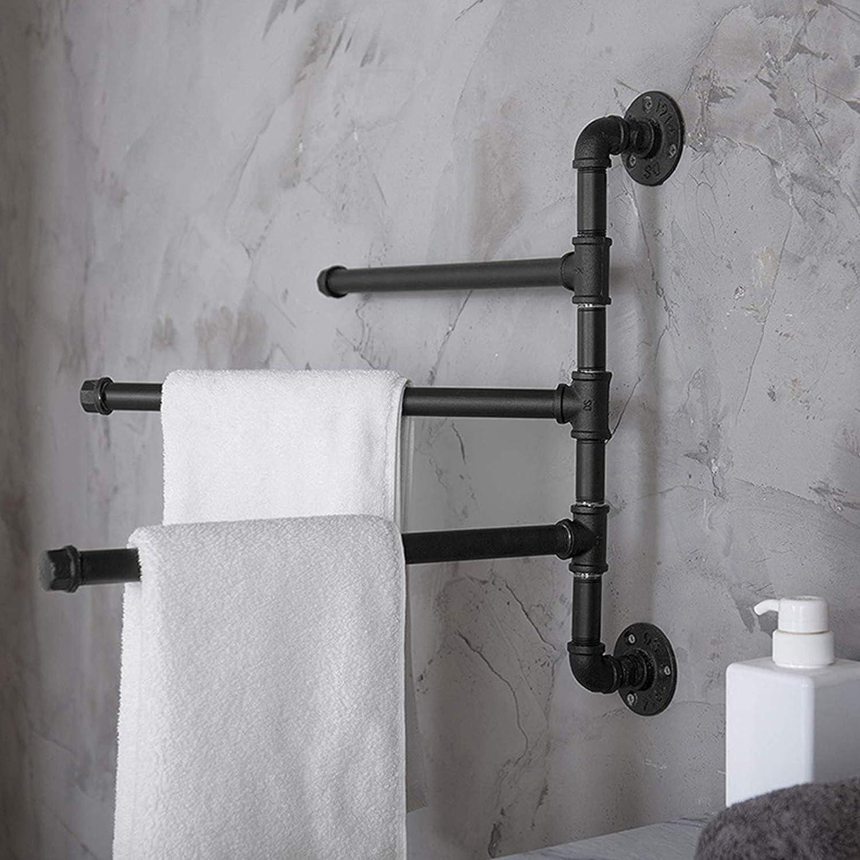 DRAKE18 Porta Asciugamani da Bagno Portasciugamani Girevole a 3 Barre Porta Asciugamani in Stile Industriale Nero Opaco Montaggio a Parete per Bagno Cucina WC