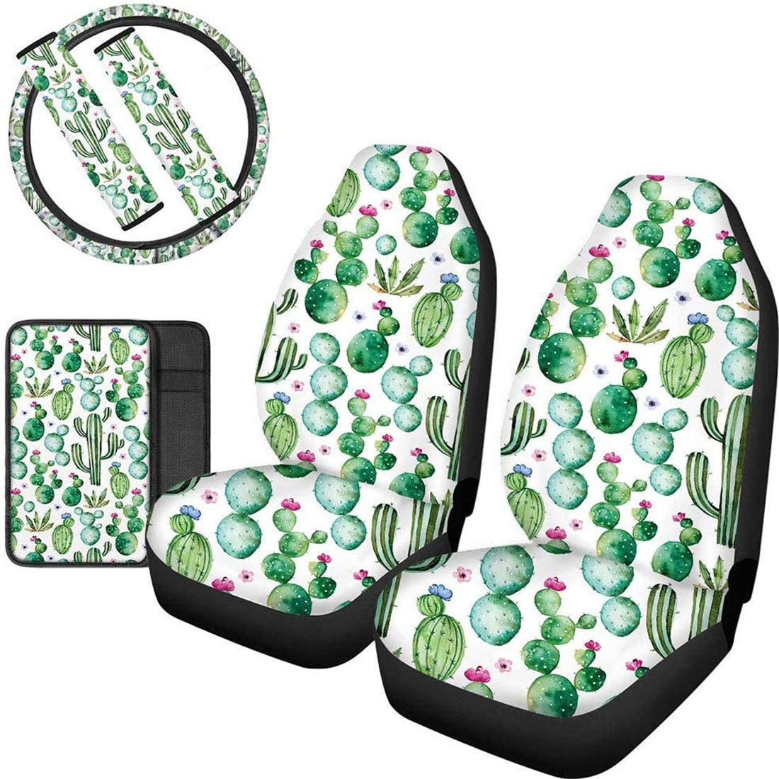 Upetstory Car Accessories Protector 6 Pieces with Front Car Seat Cover Steering Wheel Cover Anti-Slip Center Console Armrest Cover Safely Protector Seat Belt Pads Cactus