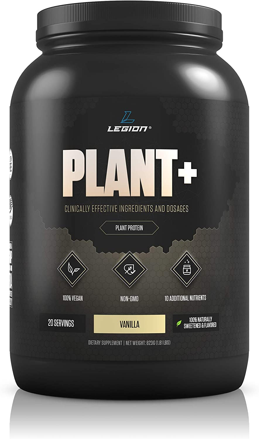 Legion Plant+ Vegan Protein Powder, Vanilla - Rice and Pea, Plant Based Protein Blend. Gluten Free, GMO Free, Naturally Sweetened and Flavored, 20 Servings, 2 Lbs (Vanilla)