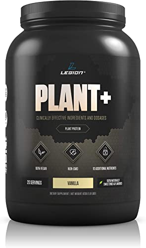 Legion Plant Vegan Protein Powder, Vanilla – Rice and Pea, Plant Based Protein Blend. Gluten Free, GMO Free, Naturally Sweetened and Flavored, 20 Servings, 2 Lbs Vanilla
