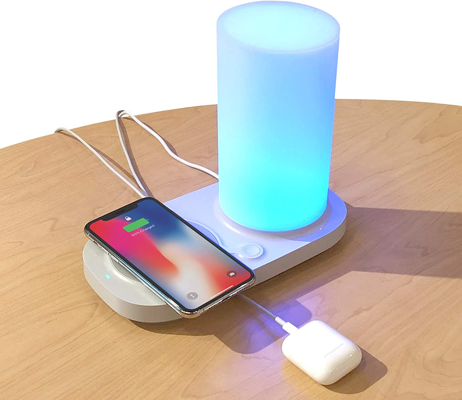 iHome Led Lamp + Wireless Charging Station: Wireless Charger with Dimmable Touch Lamp - Fast Charging Dock with 5W Qi Wireless Pad & 3 USB Ports for Apple, Samsung Galaxy & Note devices