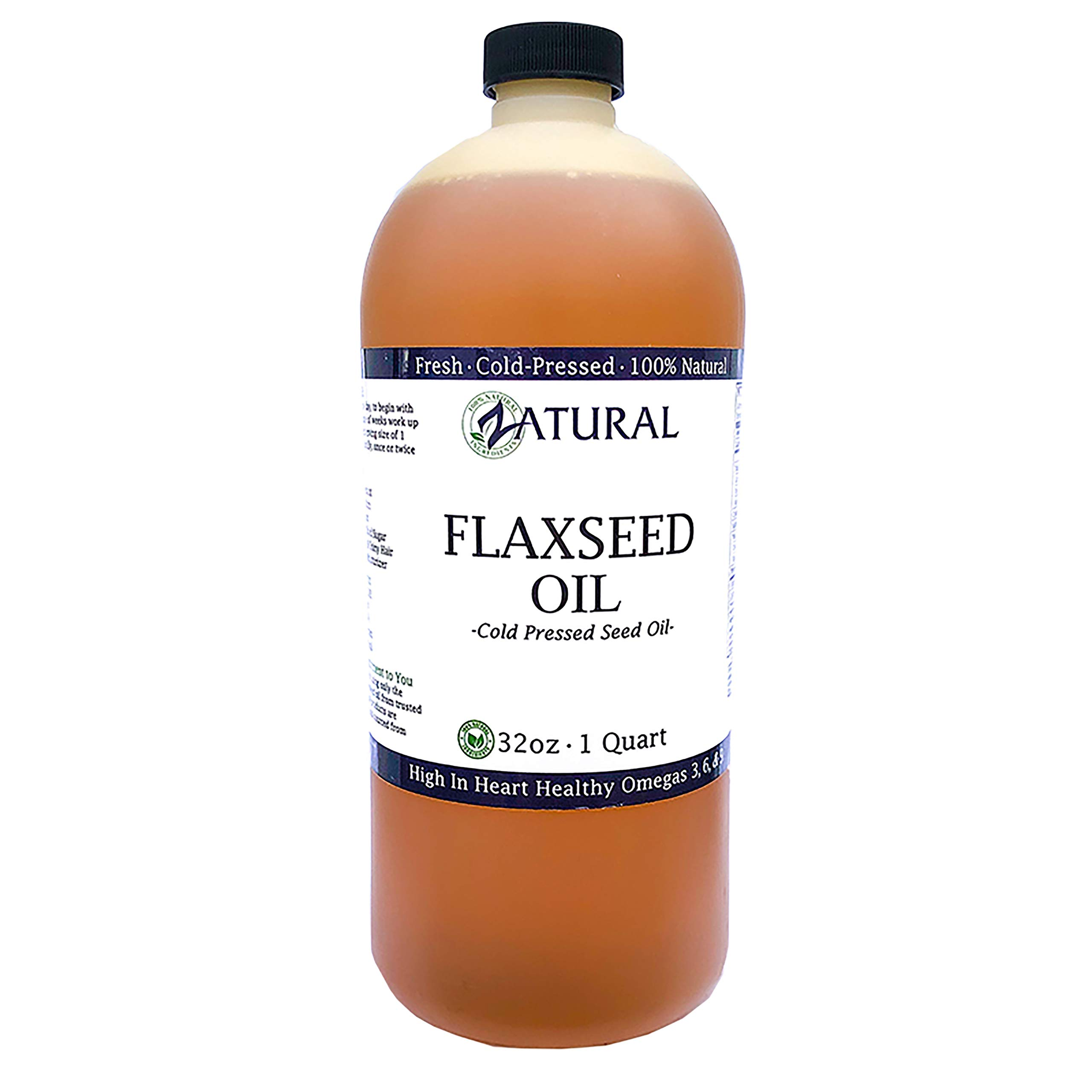 FlaxSeed Oil - 100% Pure Flax Seed Oil - 0 Additives - 0 Fillers - Cold Pressed - Unrefined (32 Ounce) by Zatural