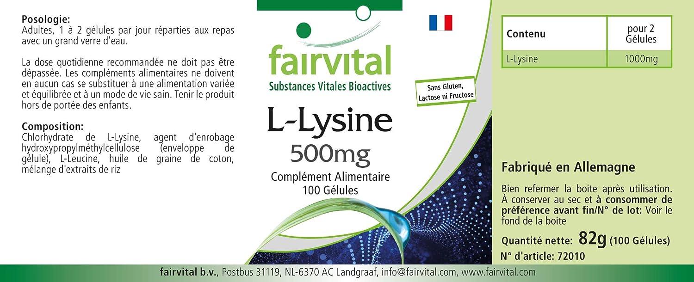 L-Lisina cápsulas 500mg - Altamente dosificado - 100 cápsulas - L-lisina clorhidrato - ¡Calidad Alemana garantizada!: Amazon.es: Salud y cuidado personal