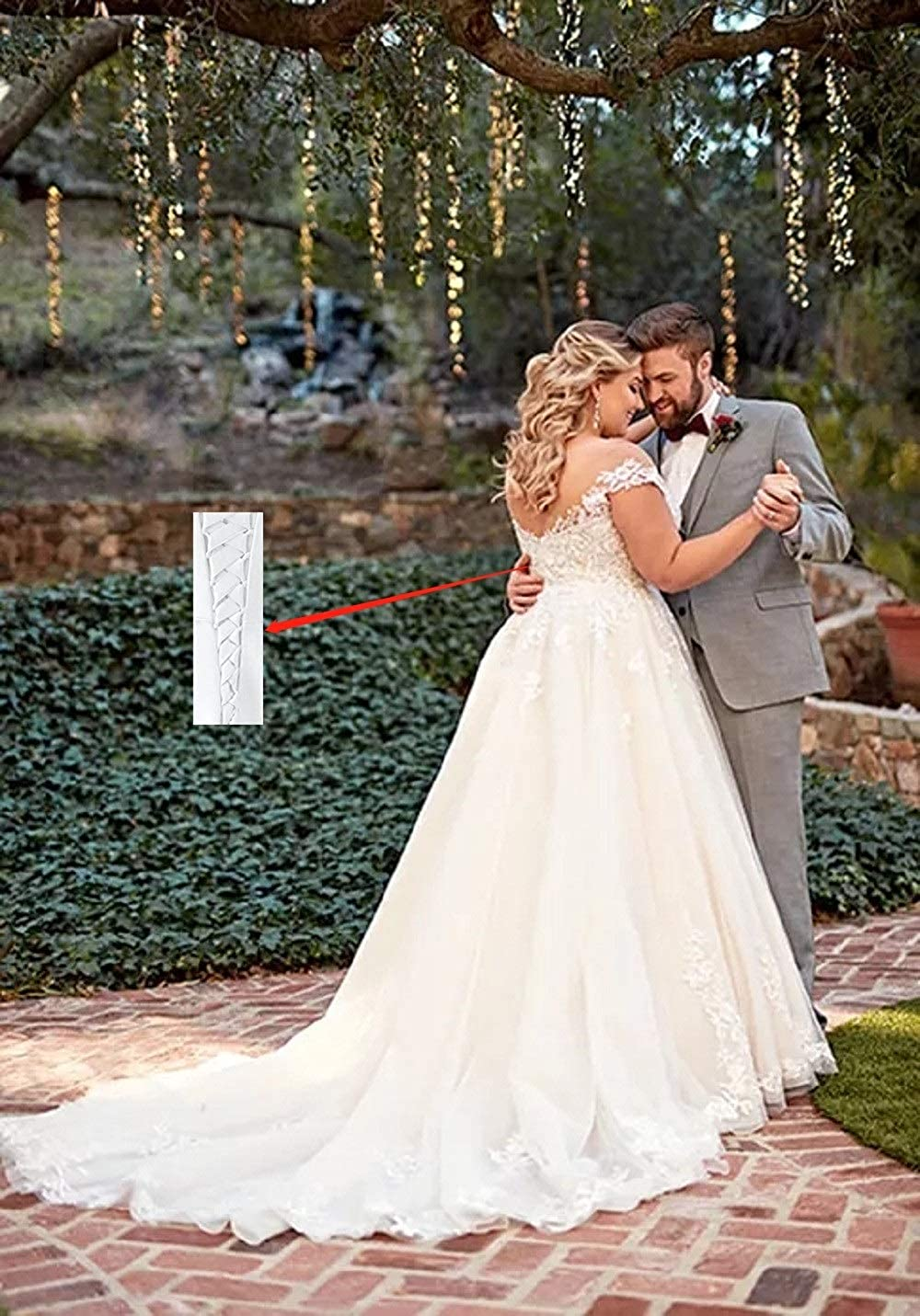 Clothfun Womens Illusion Long Sleeve V-Neck Lace Bridal Gowns Wedding Dresses for Bride 2019