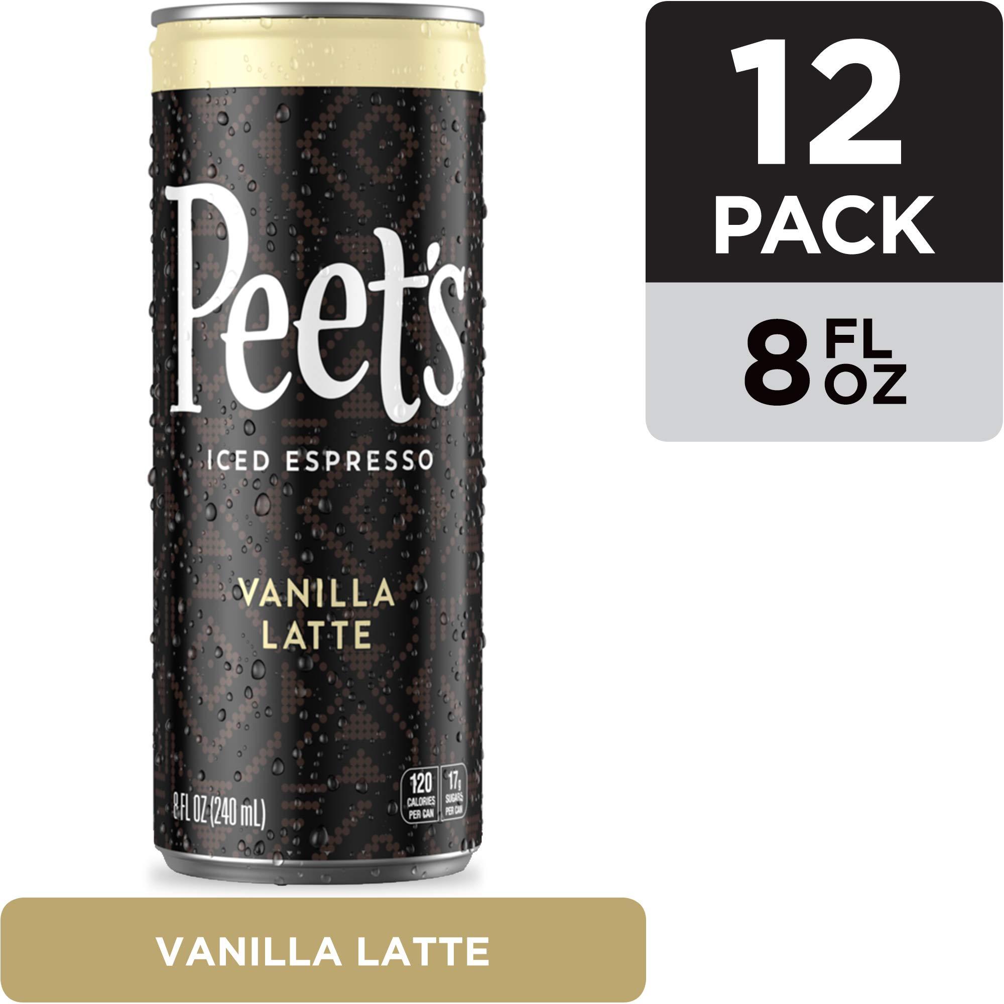 Peet's Iced Espresso Vanilla Latte 8 oz, Single Origin Colombian Espresso + Milk and Cane Sugar, 120 calories, 12 pack by Peet's Coffee