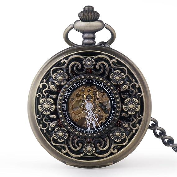 Retro hueco flor grabado números romanos mano viento mecánico reloj de bolsillo con cadena de 15