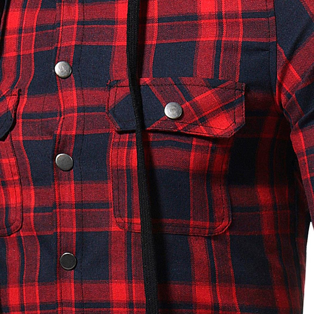 Realdo Autumn Winter Long Sleeved Plaid Hooded Sweatshirt Top Blouse