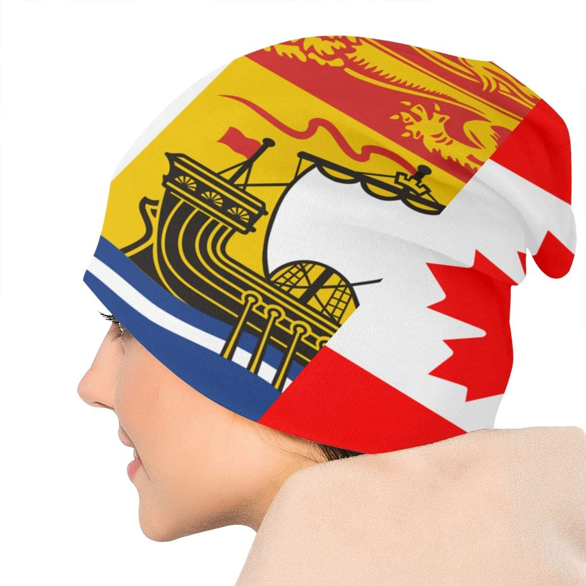Lake-OD New Brunswick Flag and Canada Flag Thin Baggy Slouchy Knit Beanie Hat Hip-hop Skull Cap for Mens and Womens