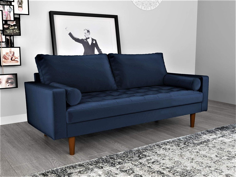 """Velvet Upholstered Tufted Living Room Sofa, 69.68"""", Space Blue"""