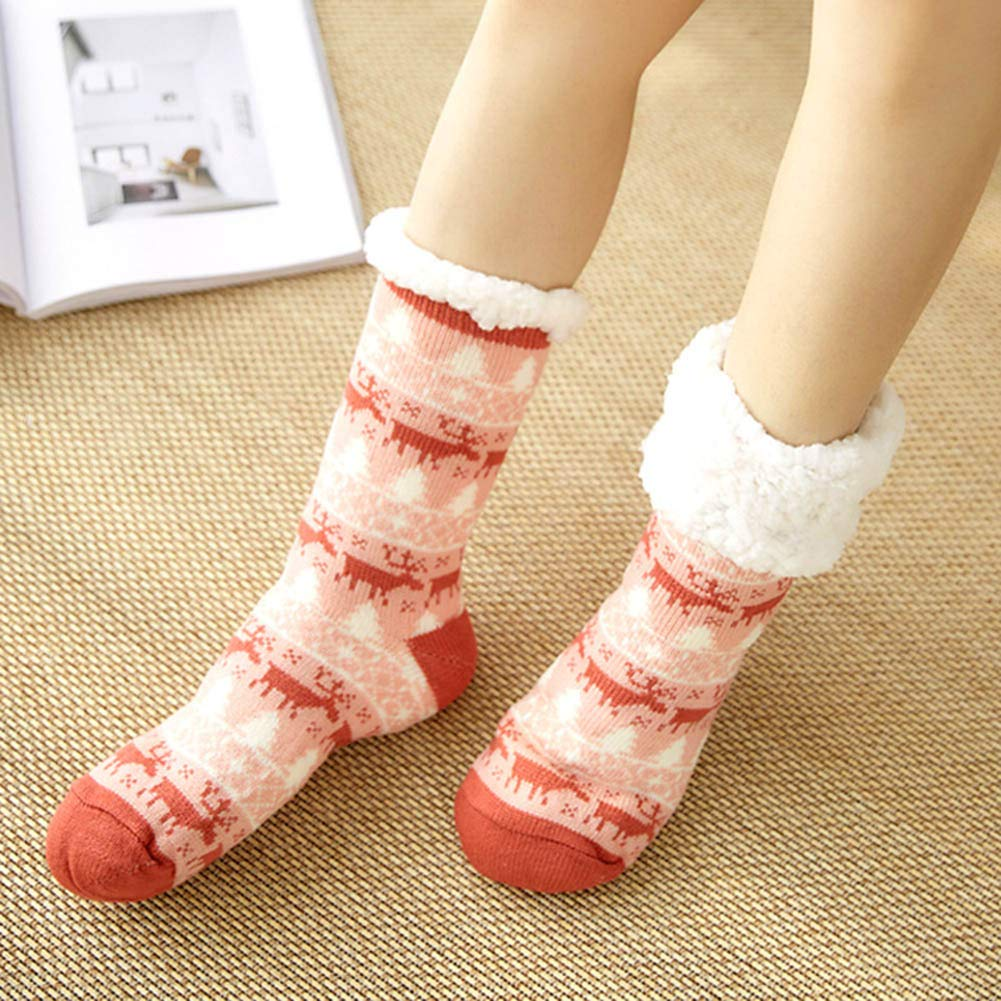 kangOnline 1 Pair Warm Ultra-Plush Slipper Socks Winter Socks Thick Anti Slip Indoor Floor Ankle Sock Cozy Cotton Knitted Sock for Women Girls
