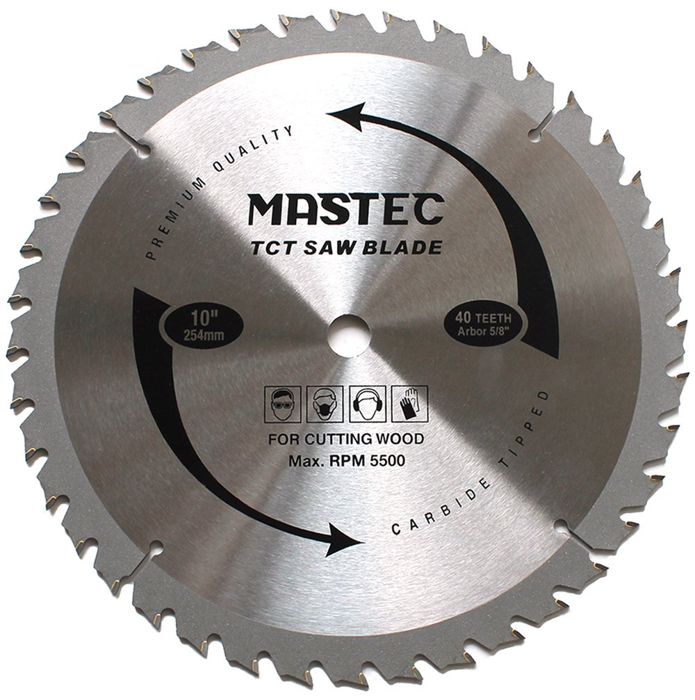 MASTEC 10 Inch Miter Saw Blade with 40T ATB Anti Kickback Tooth for Wood and 5/8-Inch Arbor