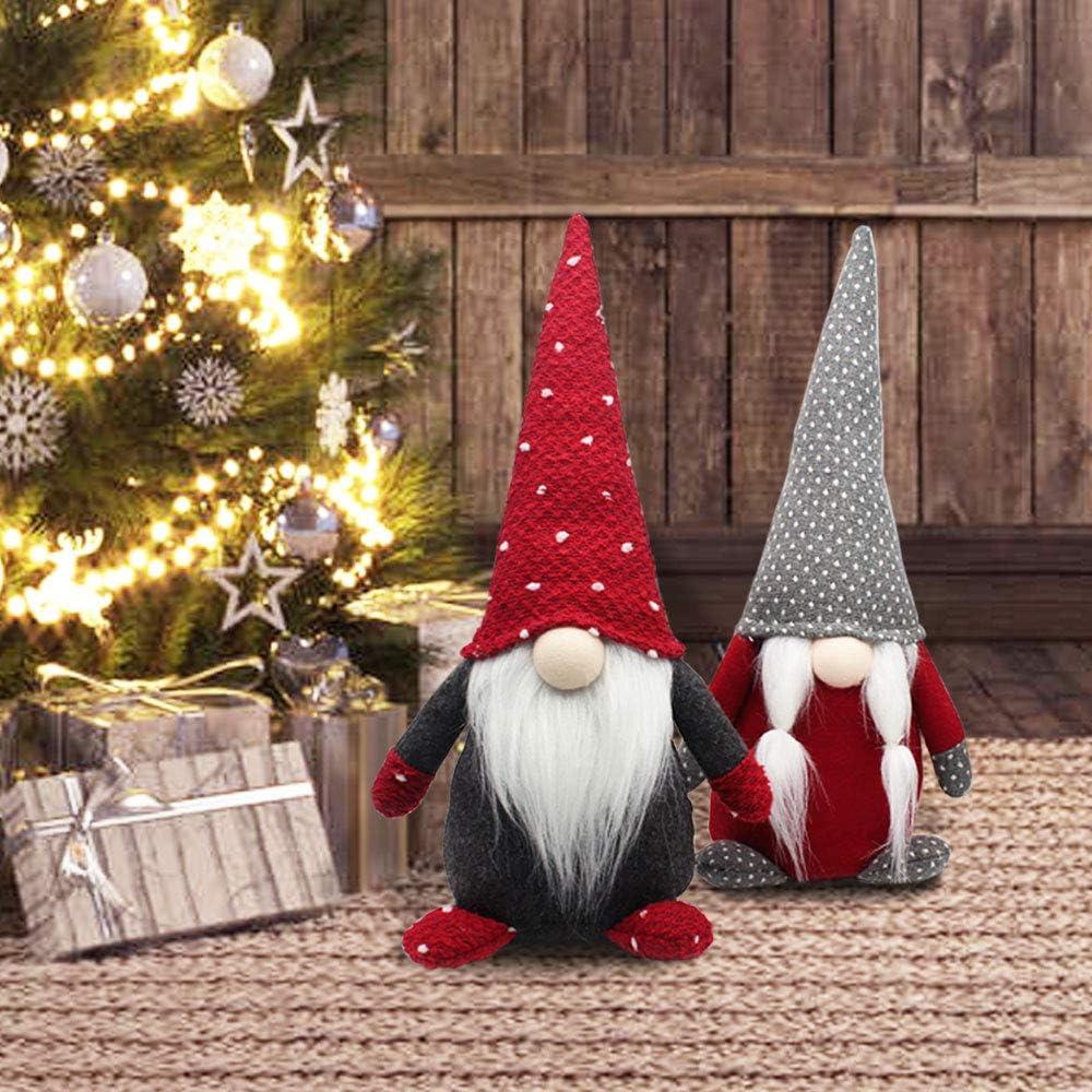 FANN Christmas Gnomes Plush Set of 2, 14.5 Inches High Handmade Swedish Tomte Santa Scandinavian Figurine Nordic Plush Elf Doll Christmas Gnome Ornaments Home Decor Red and Grey