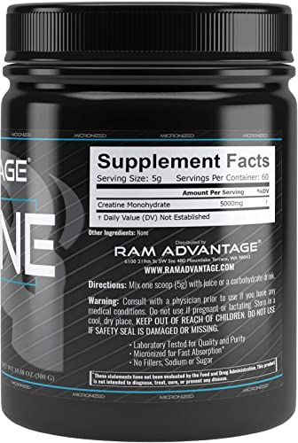 Micronized Creatine Monohydrate RAM ADVANTAGE Strength, Muscularity, Power 300 G