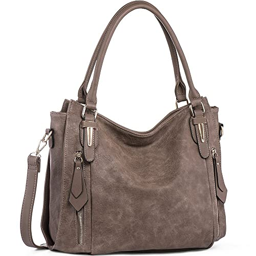 Handbags for Women Shoulder Tote Zipper Purse PU Leather Top-handle Satchel Bags Ladies Medium Size Uncle.Y Sepia Brown best stylish purses for fall
