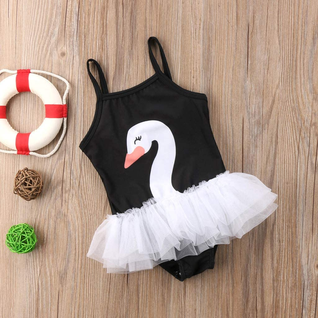 Fartido Baby Girls Jumpsuit Summer Swimwear Childrens Sleeveless Sling Swan Mesh Swimsuit