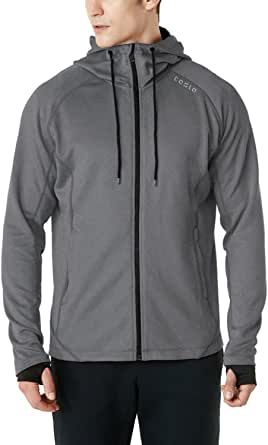 TSLA Men's Full Zip Up Hoodie Jacket, Long Sleeve Performance Training Hoodie, Lightweight Workout Running Track Jackets