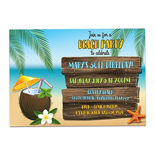 Amazon Luau Beach Party Invitations Personalized Birthday Tropical Invitation Girl Woman Adult Coconut Drink Handmade