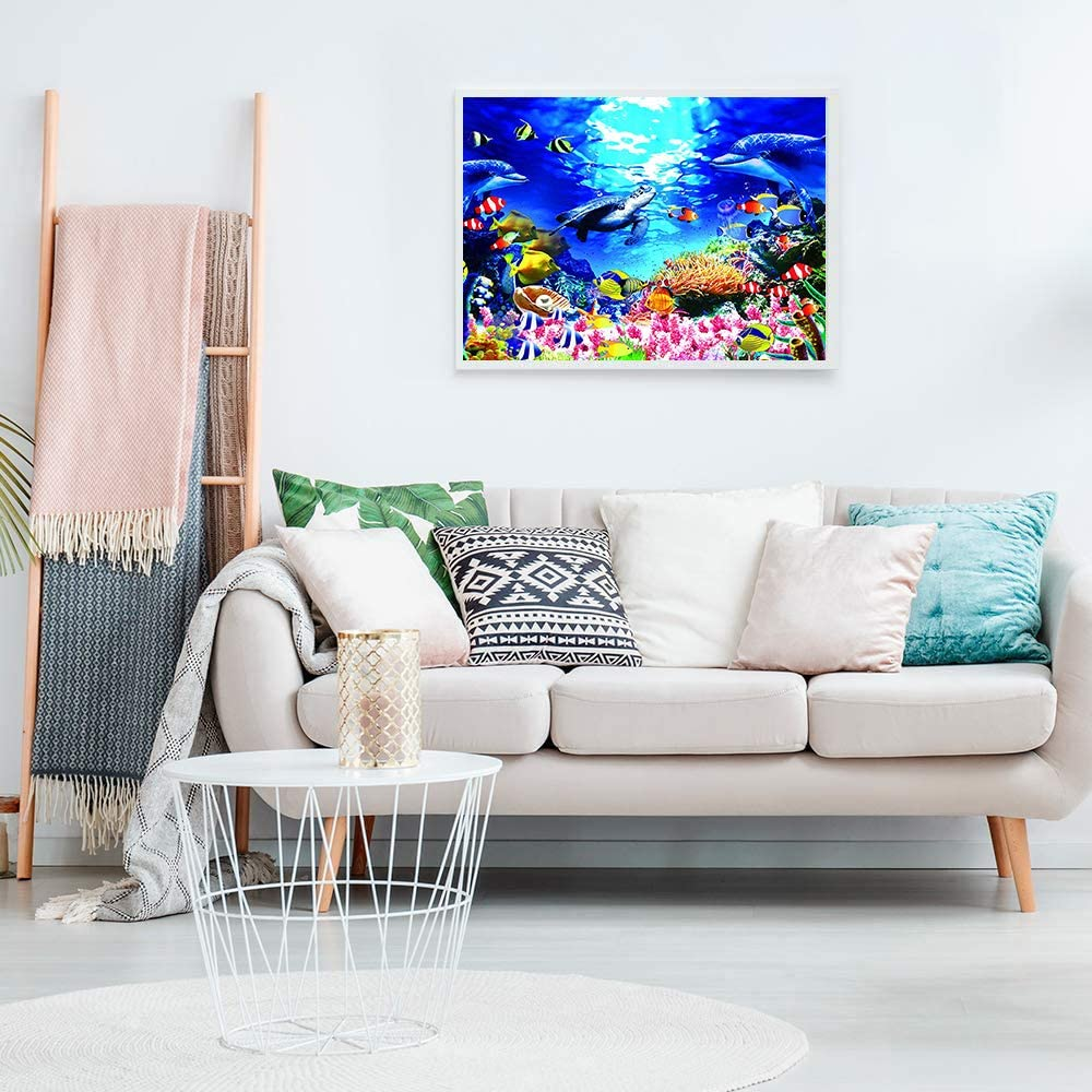 Jigsaw Puzzles for Adults 1000 Piece Large Ocean Scene with Fish Undersea Colorful Puzzles Challenging Game Gift Toys for Adults Kids Teens Family Puzzles 27.5 in x 19.6 in