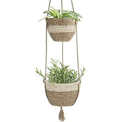 Hanging Planter Basket Indoor Outdoor,Natural Seagrass Flower Plant Pots, Beige: Garden & Outdoor