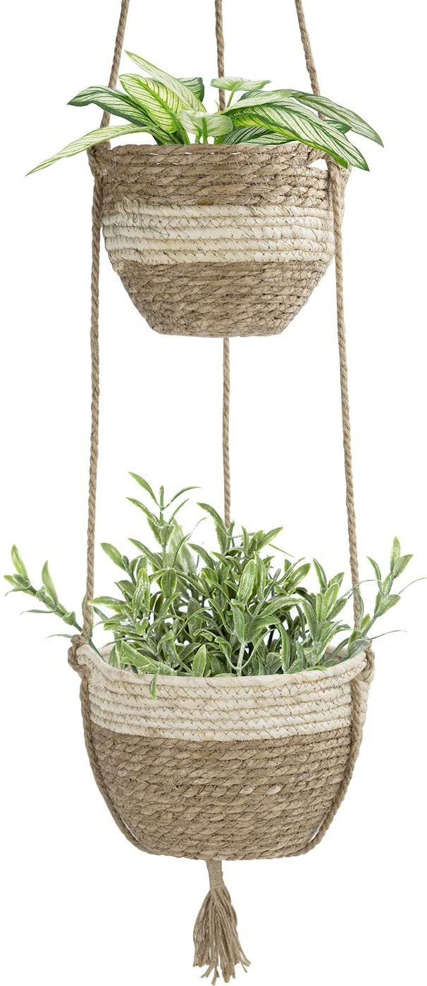 LA JOLIE MUSE Hanging Planter Basket Indoor Outdoor,Natural Seagrass Flower Plant Pots, Beige
