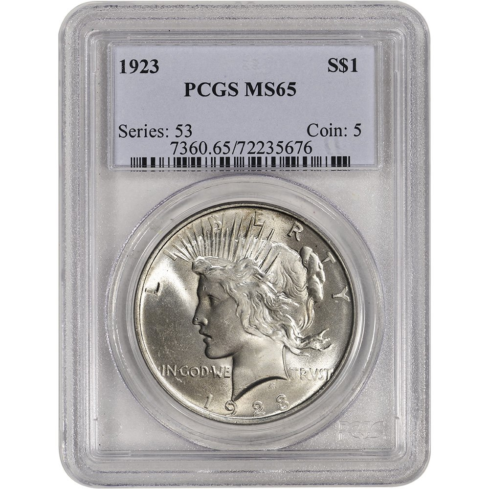 PCGS MS65 1923 US Peace Silver Dollar $1