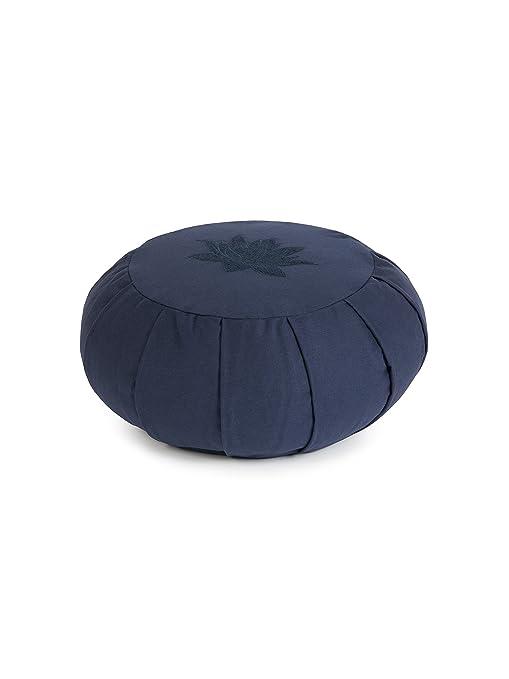 Yoga Studio Zafu - Cojín de meditación (Plisado, Redondo), diseño de Hojas de Loto, Azul Marino