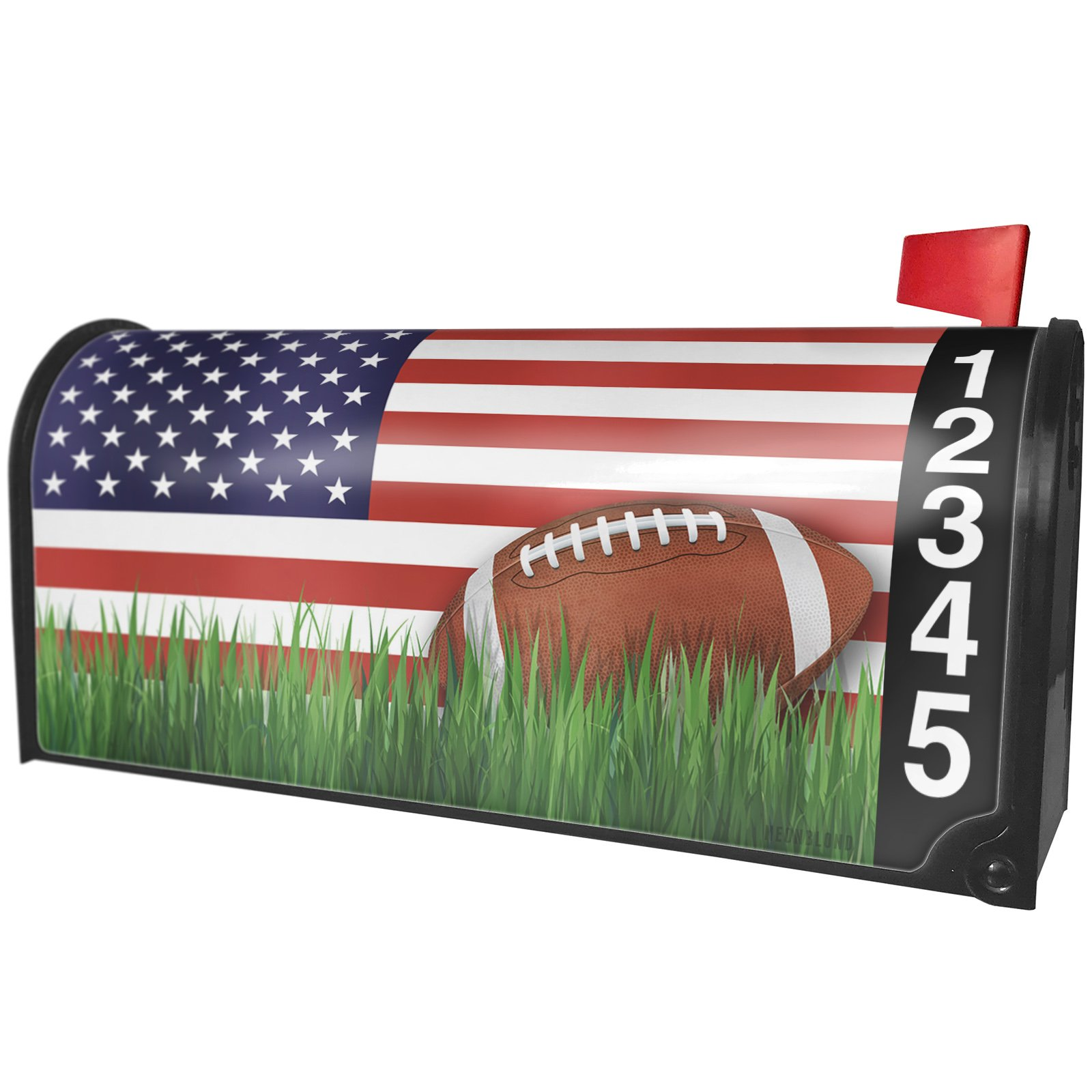 NEONBLOND Football with Flag USA Magnetic Mailbox Cover Custom Numbers