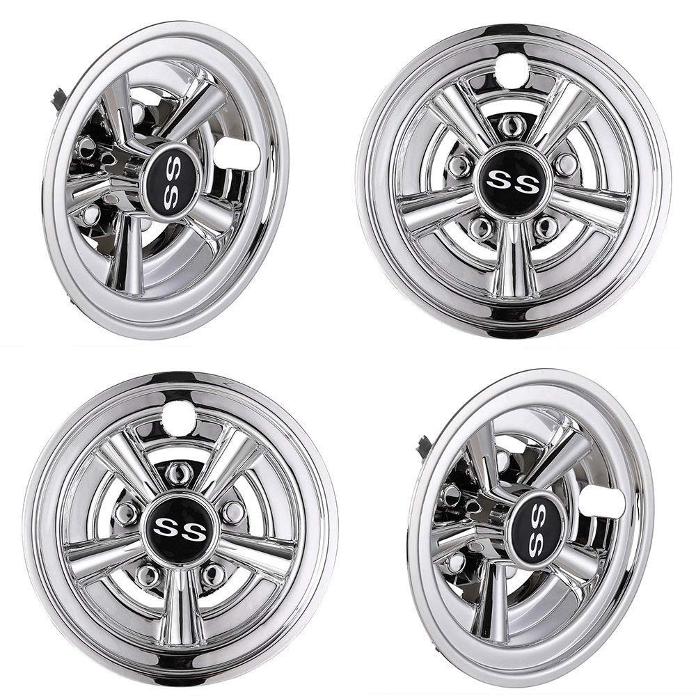 GraceShop Chrome Golf Cart Wheel Cover Hub Cap Fits for EZGO Club Car Yamaha 4pcs 8'' SS by GraceShop