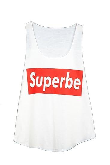 GL BOUTIK Camiseta SIN Mangas para Mujer - Estampado DE Texto - SUPERBE - Supreme -