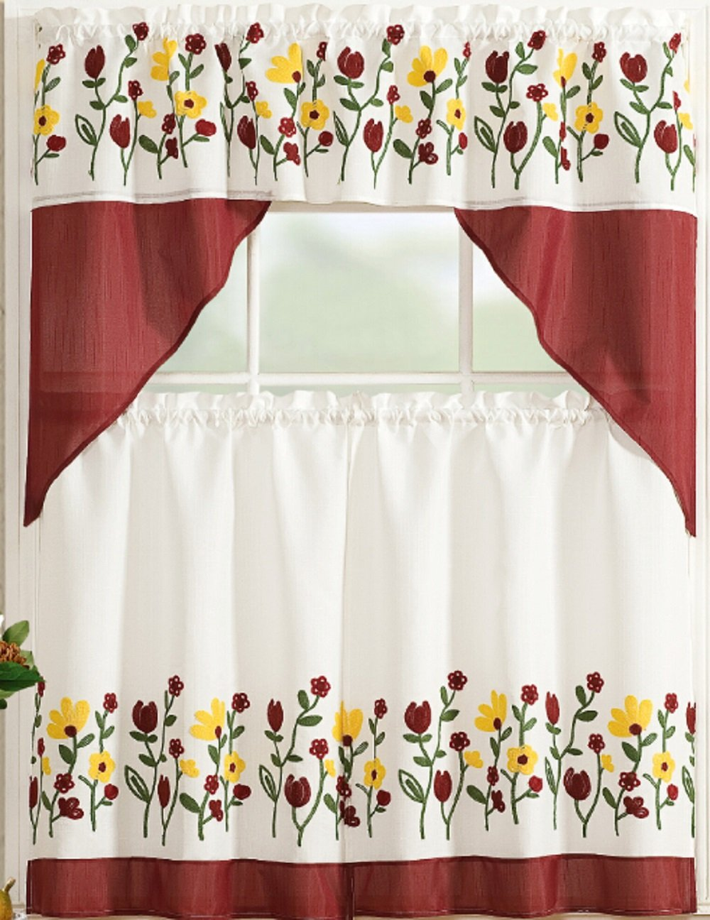 All American Collection Modern 3pc Kitchen Curtain Set with Swag Valance (Spring Flowers Burgundy)