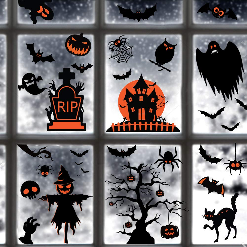 TMCCE 60PCs Halloween Decorations Halloween Window Clings Decals for Halloween Supplies Happy Halloween Wall Decal Good Halloween Party