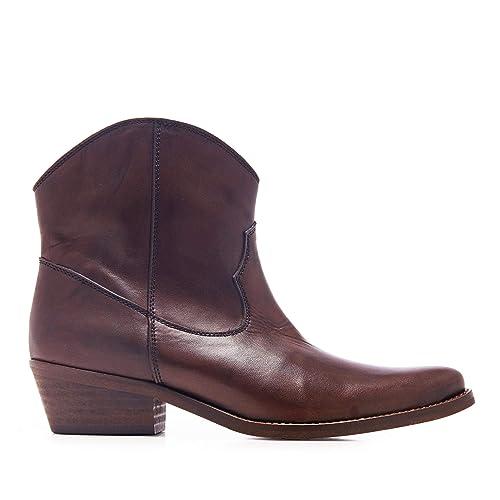 Eva López Botin Cowboy Piel Marron Mujer: Amazon.es: Zapatos y complementos