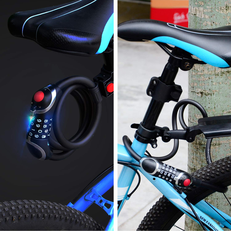 luz de Noche LED Trabajo Pesado Dobee Candado de Bicicleta Bicicletas Triciclo Scooter /… 150 cm Antirrobo Bloqueo Bici Alta Seguridad Candado de Cable Combinaci/ón con Flexible Montaje