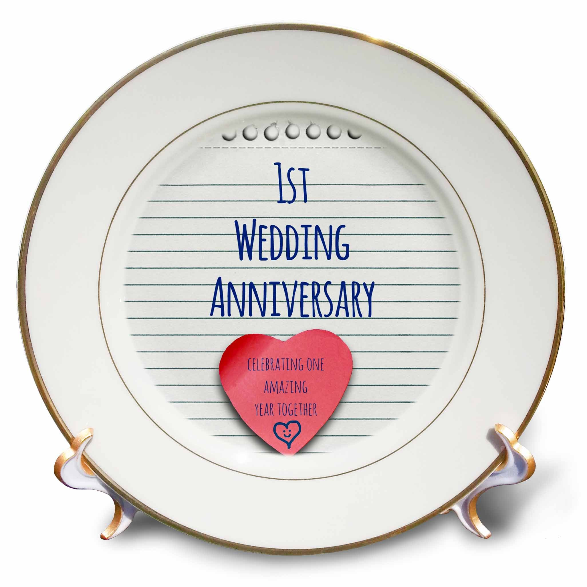 3dRose cp_154428_1 1St Wedding Paper Celebrating 1 Year Together First Anniversaries One Yr Porcelain Plate, 8-Inch